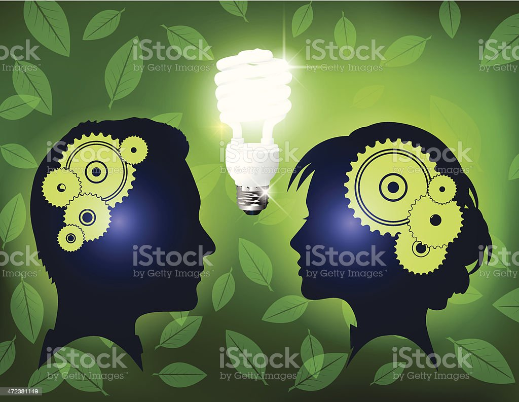 Man And Woman Talking About The Environment royalty-free stock vector art