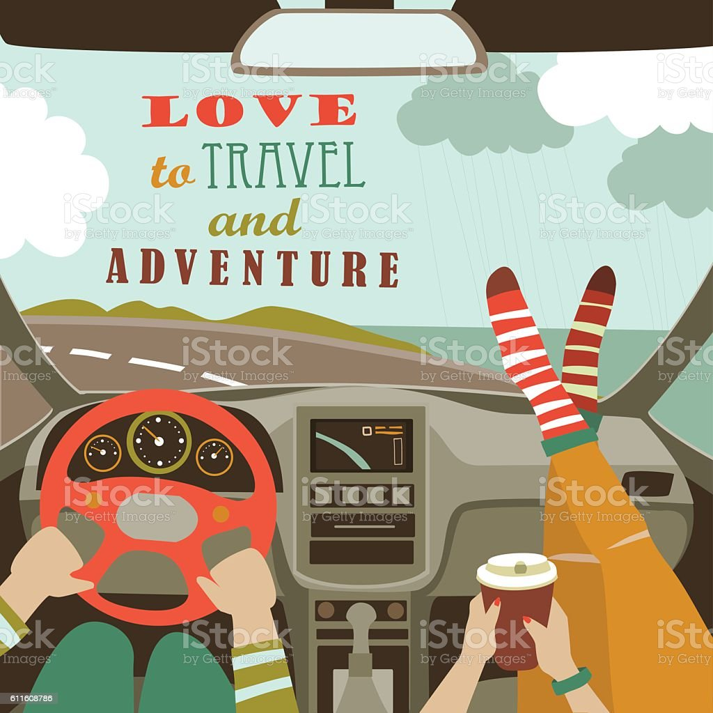 Man and woman traveling by car vector art illustration