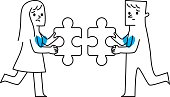man and woman. two pieces of the puzzle. Vector illustration