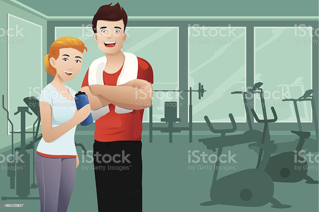 Man and woman wearing sport outfit vector art illustration