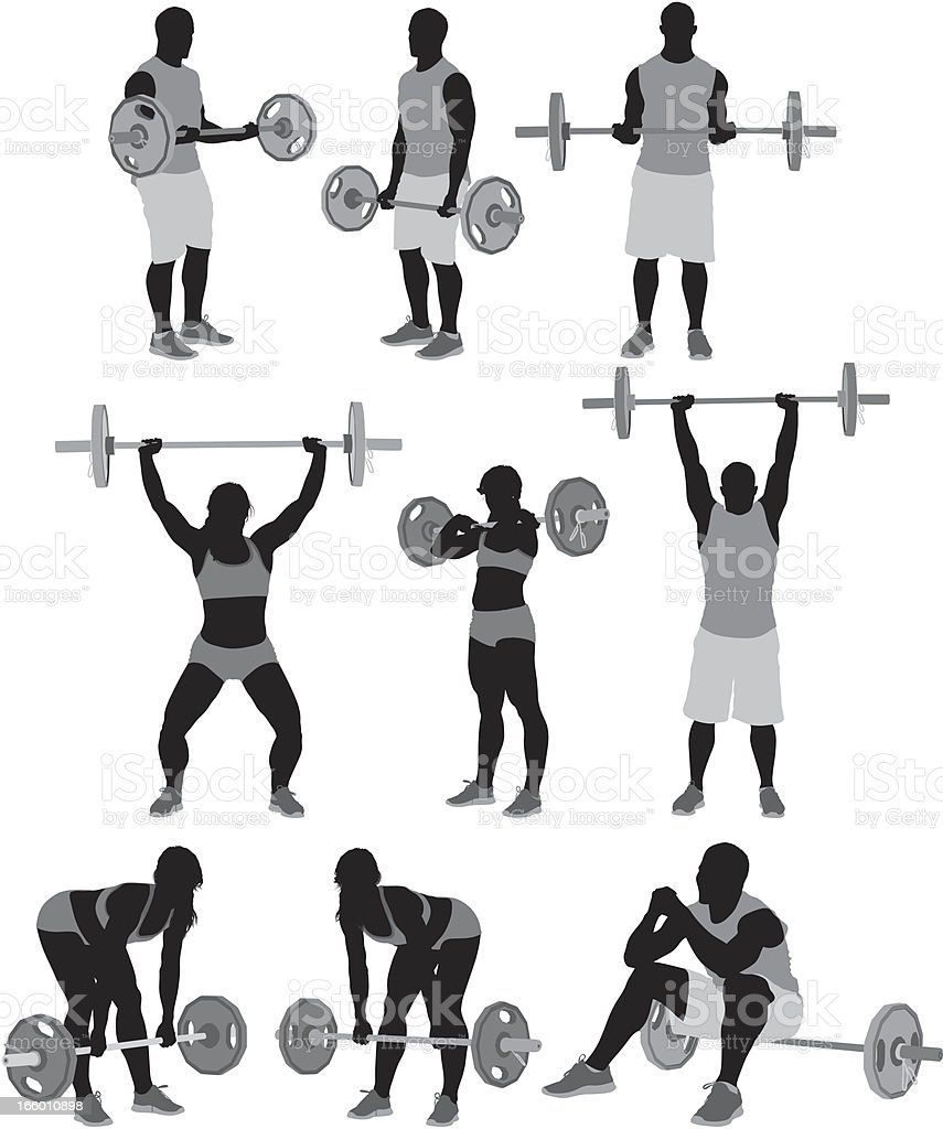 Man and woman weightlifting royalty-free stock vector art