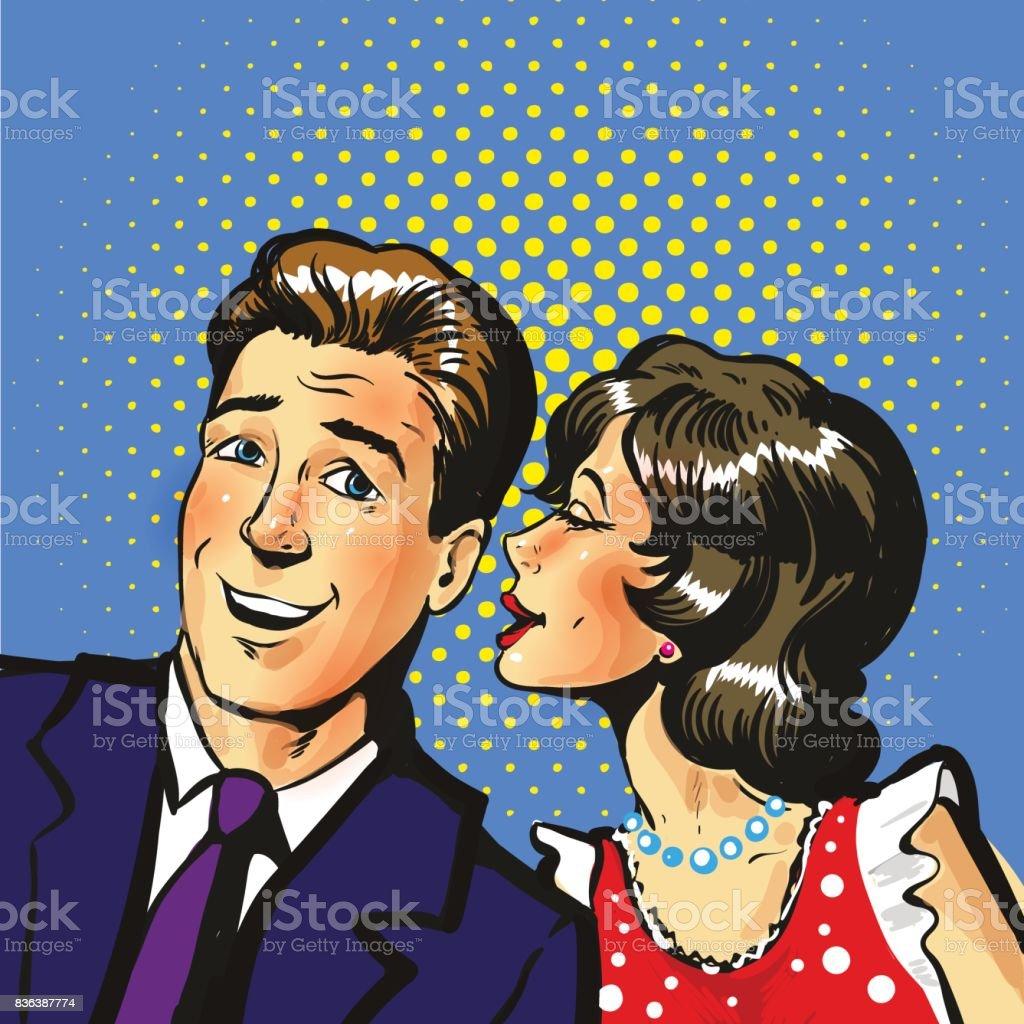 Man and woman whisper pop art vector illustration vector art illustration