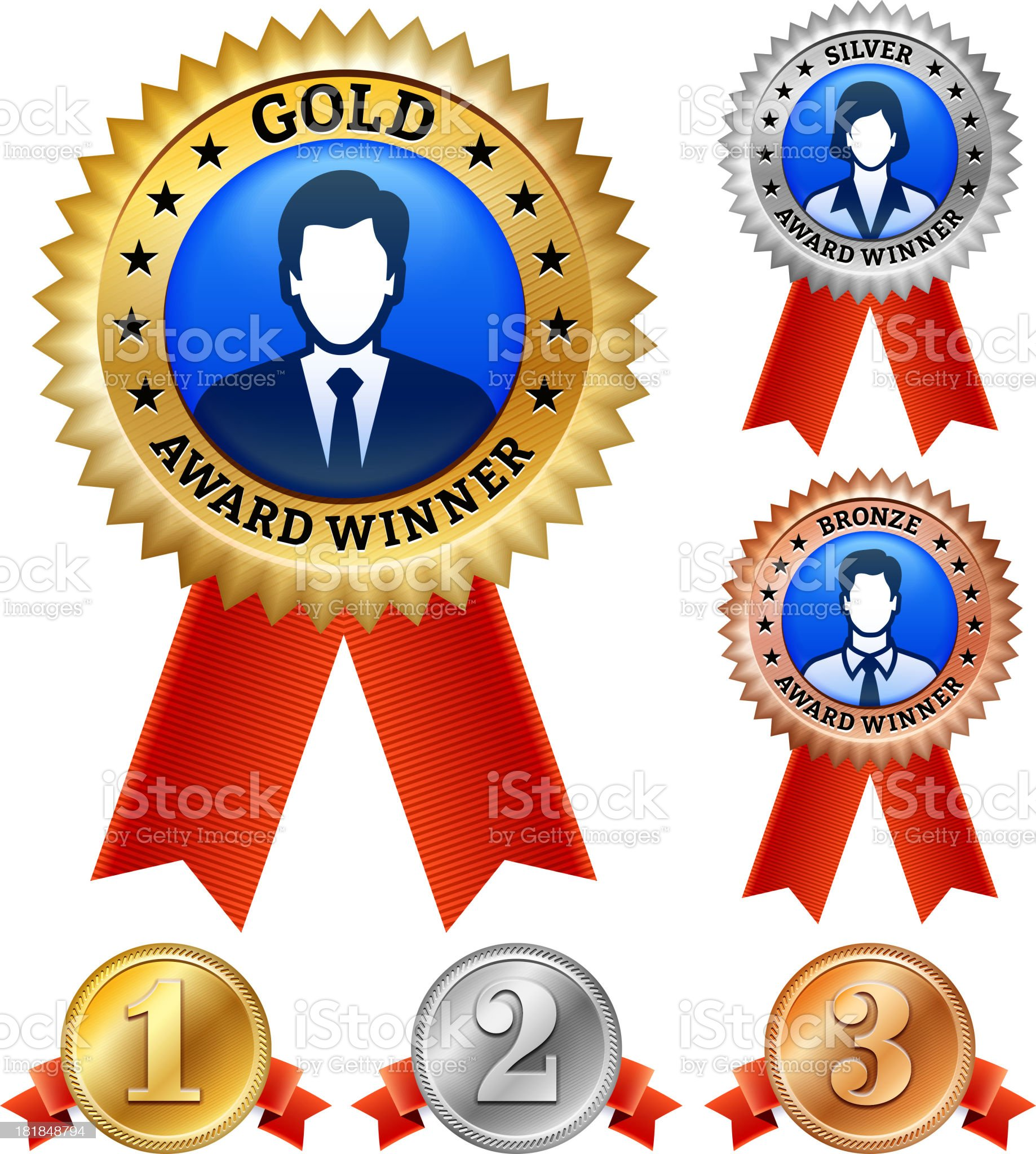 man and woman Winning Business Badge royalty-free stock vector art