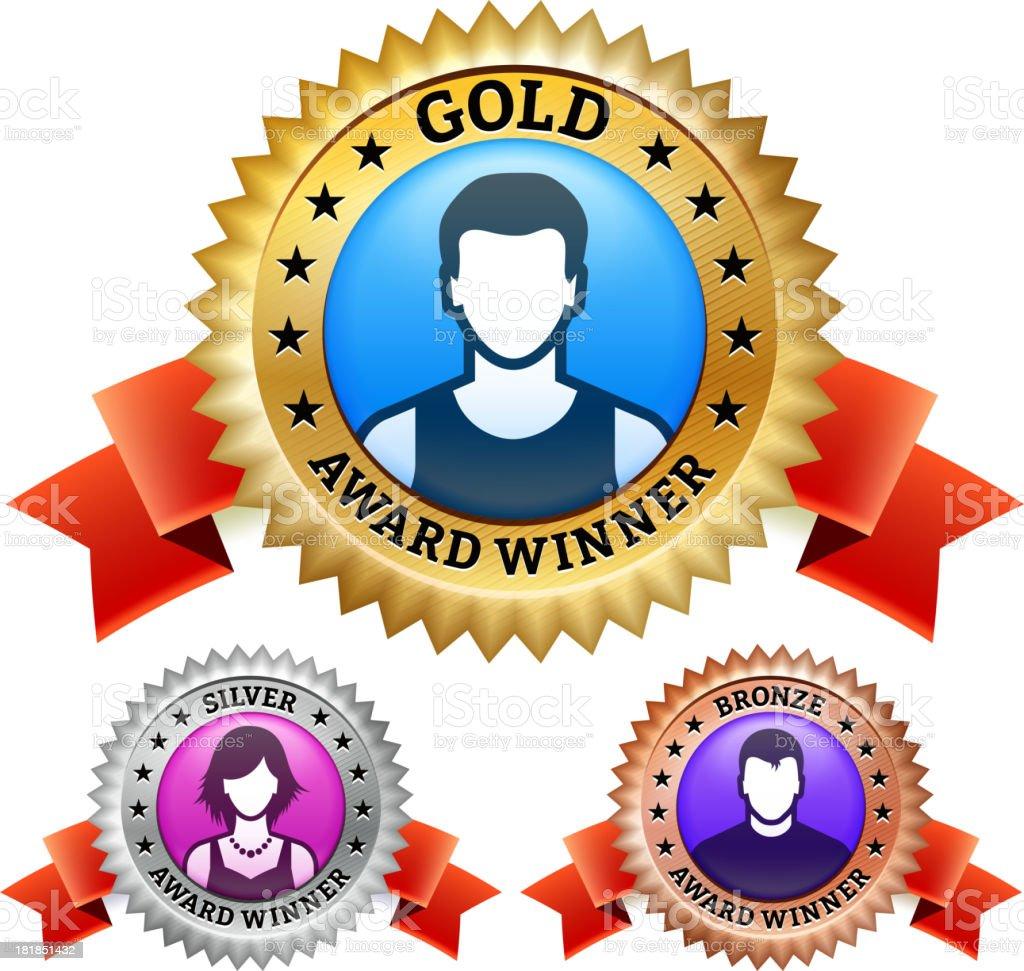 man and woman Winning Medal Badge royalty-free stock vector art