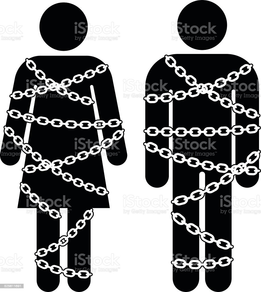 man and woman with chains vector art illustration