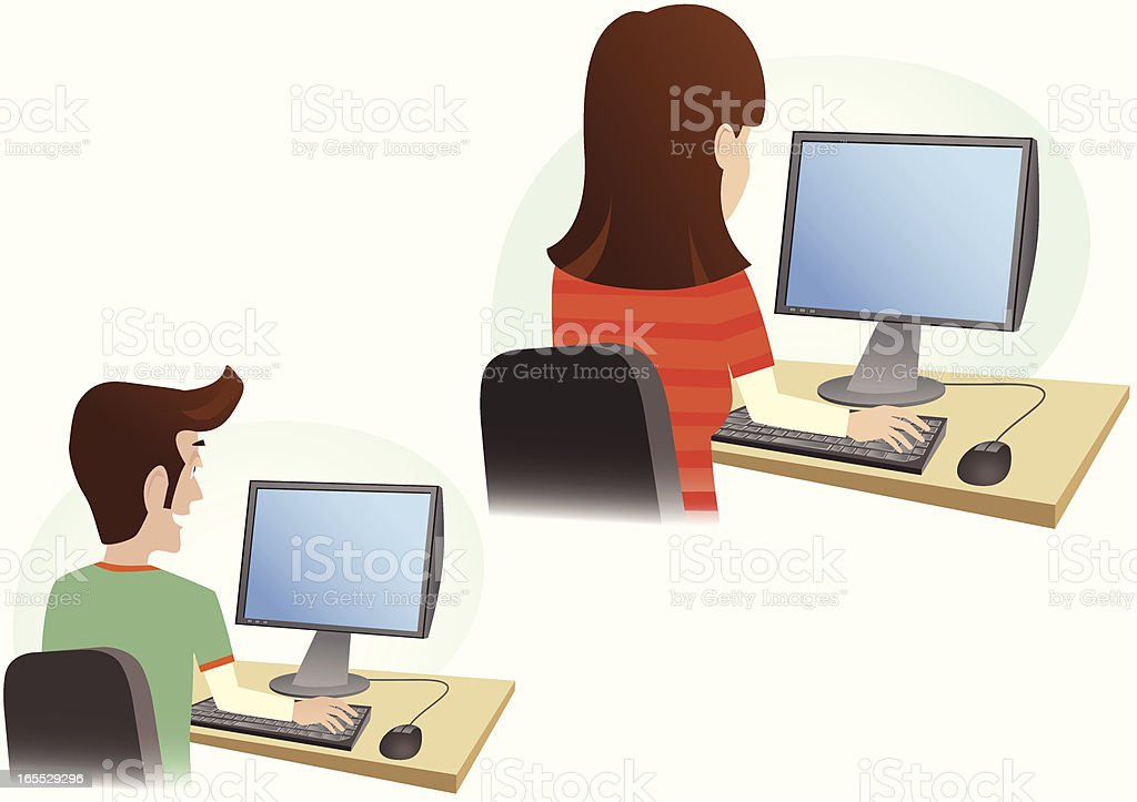 Man and woman with computer monitors royalty-free stock vector art