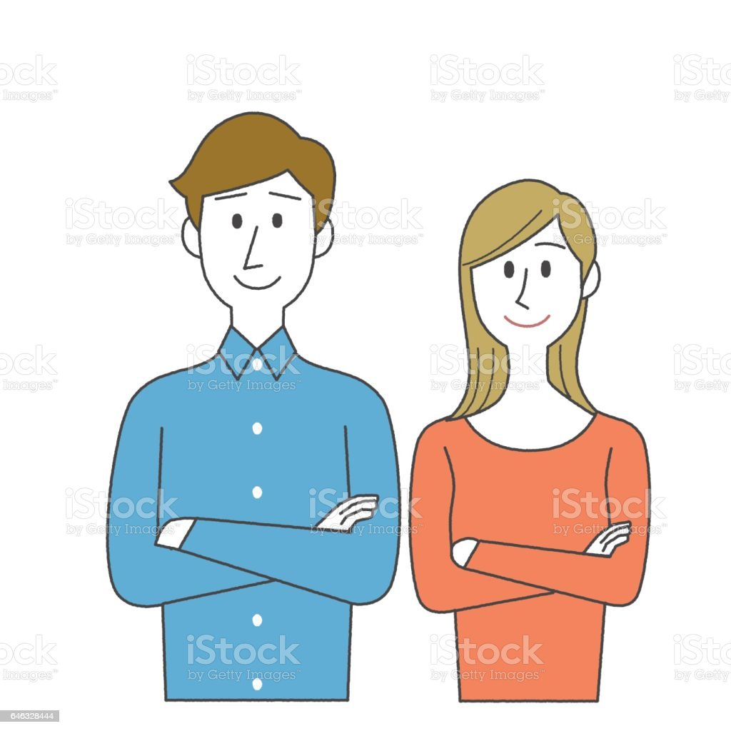 Man and Woman with crossed arms vector art illustration