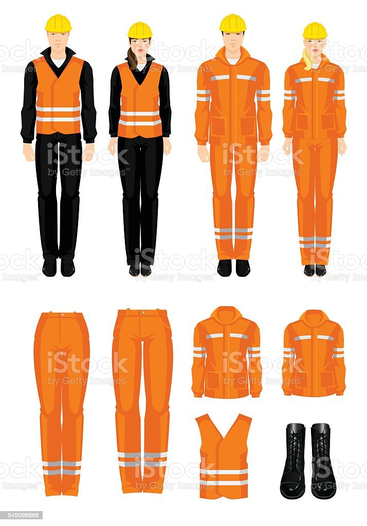 Man and woman worker in protective wear vector art illustration