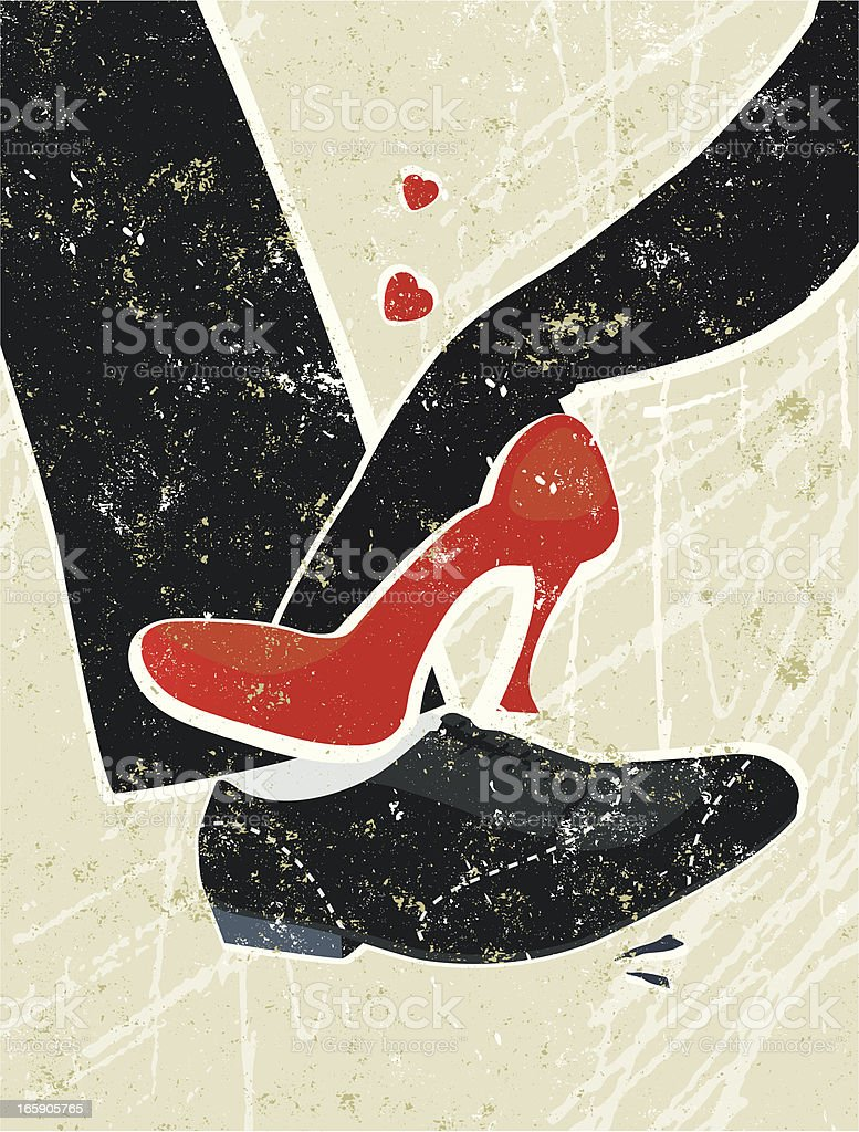Man and Woman's Feet Playing Footsie vector art illustration