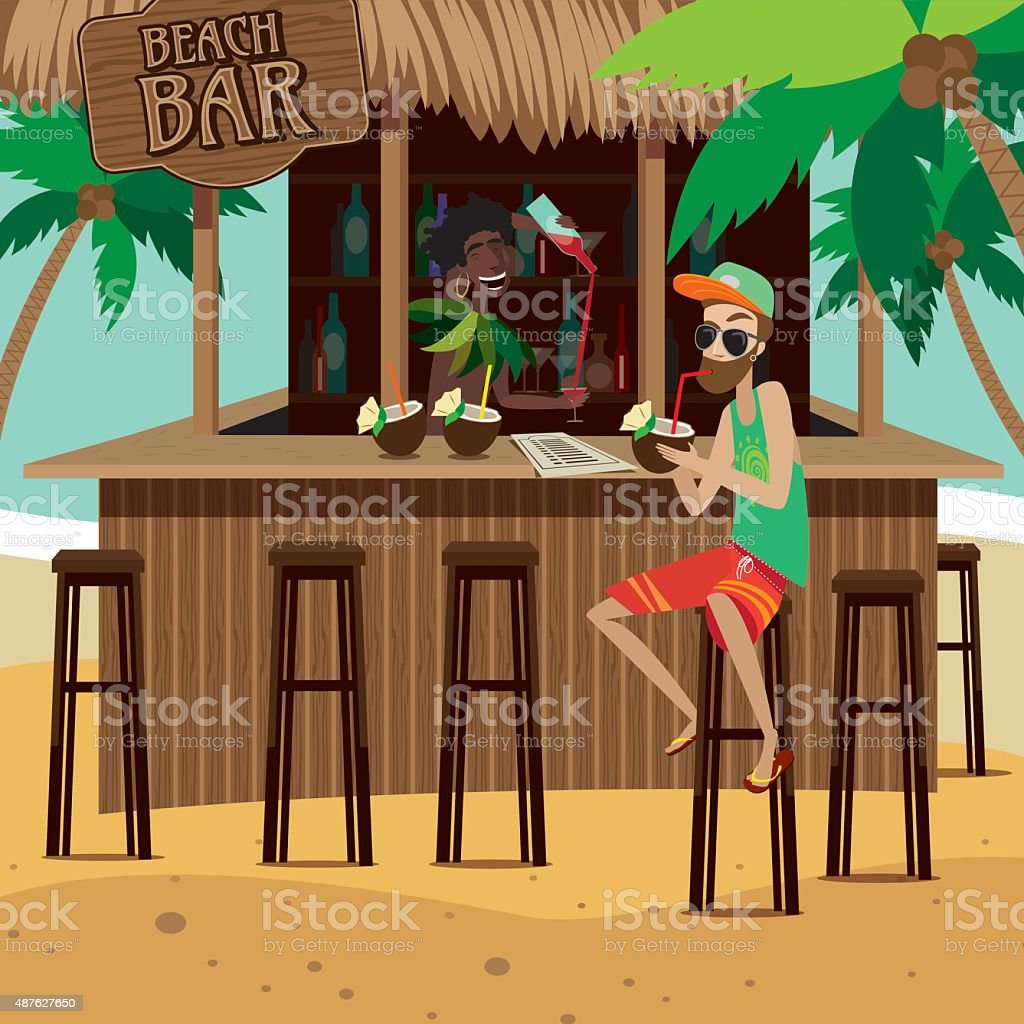 Man at beach bar drinks exotic cocktail vector art illustration