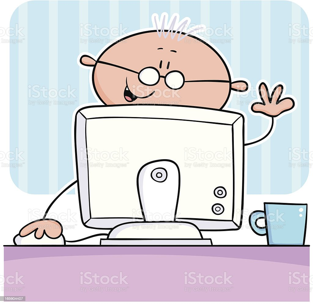 Man at computer vector art illustration