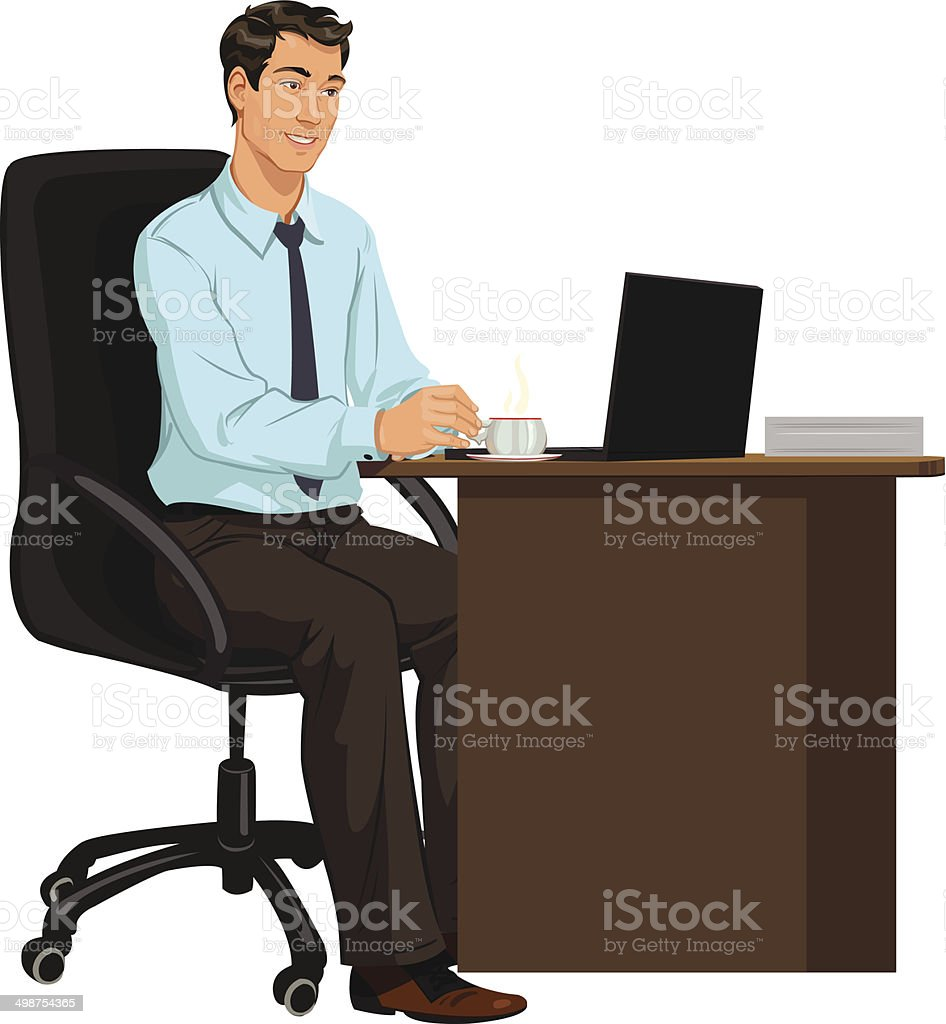 man at the Desk with laptop royalty-free stock vector art