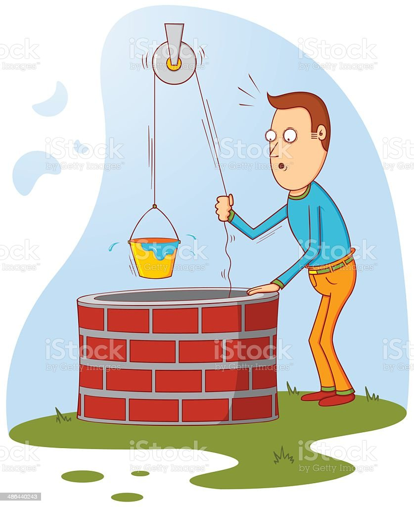 man at well royalty-free stock vector art