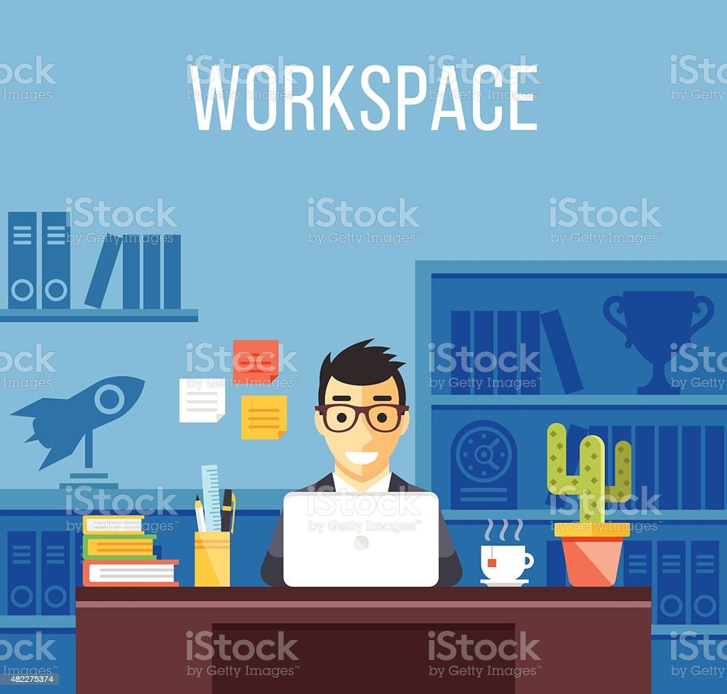 Man at work. Man in suit in office. Flat workspace vector art illustration