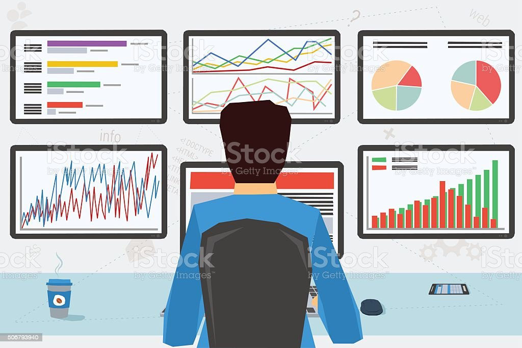 man at workplace with six monitors vector art illustration