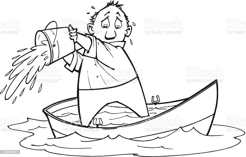 Man Bailing Boat vector art illustration