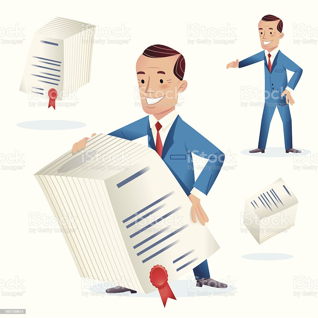 Man Behind Large Contract royalty-free stock vector art