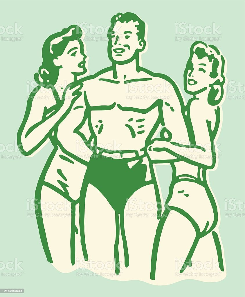 Man Being Admired by Two Women at the Beach vector art illustration
