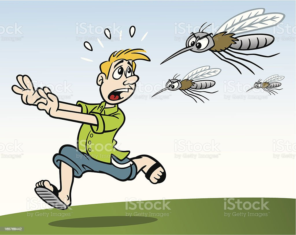 Man Being Chased By Mosquitos royalty-free stock vector art