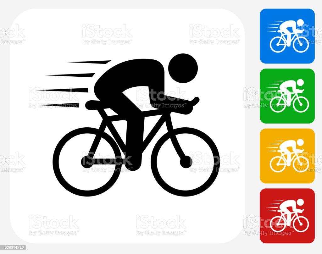 Man Biking Icon Flat Graphic Design vector art illustration