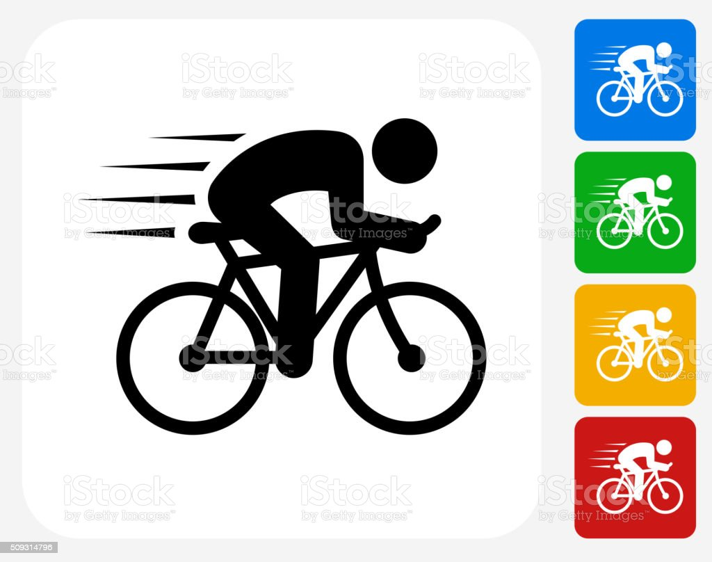 Man Biking Icon Flat Graphic Design vector art illustration