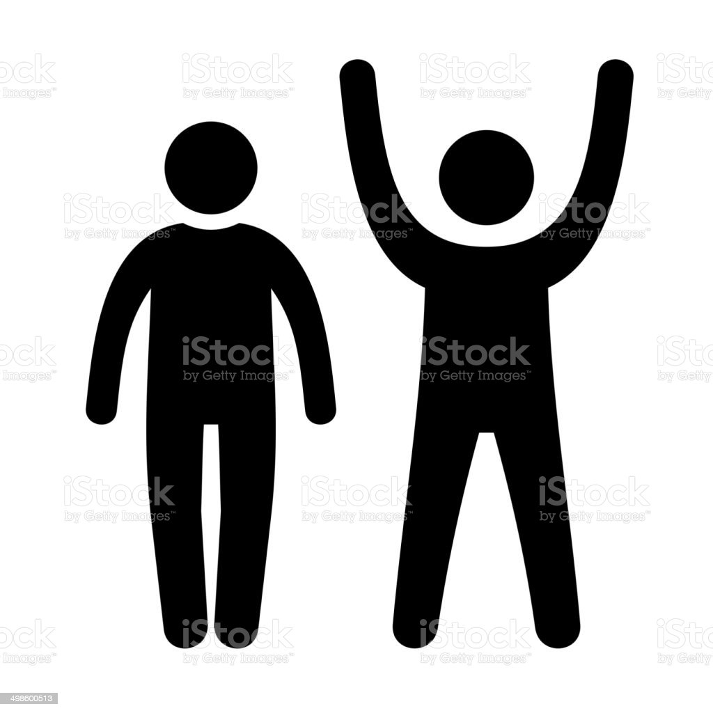 Man Black Web Icon with Up and Down Hands. Vector royalty-free stock vector art
