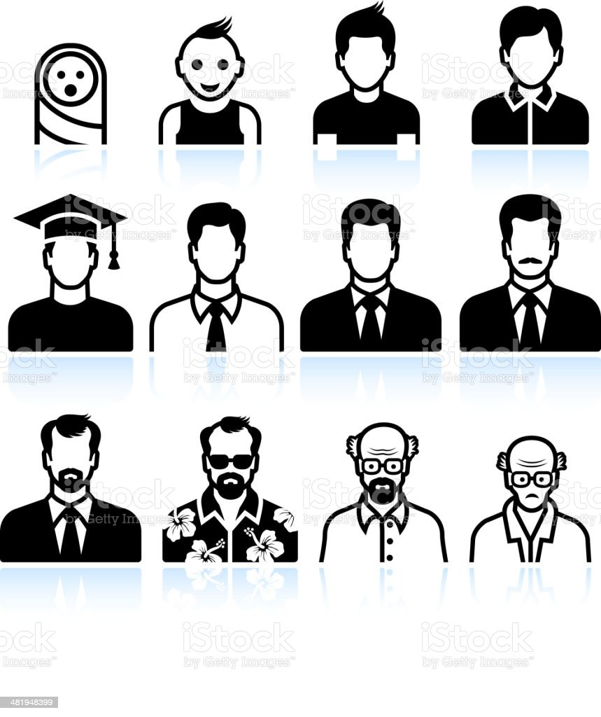 man Body Aging Process black & white vector icon set vector art illustration
