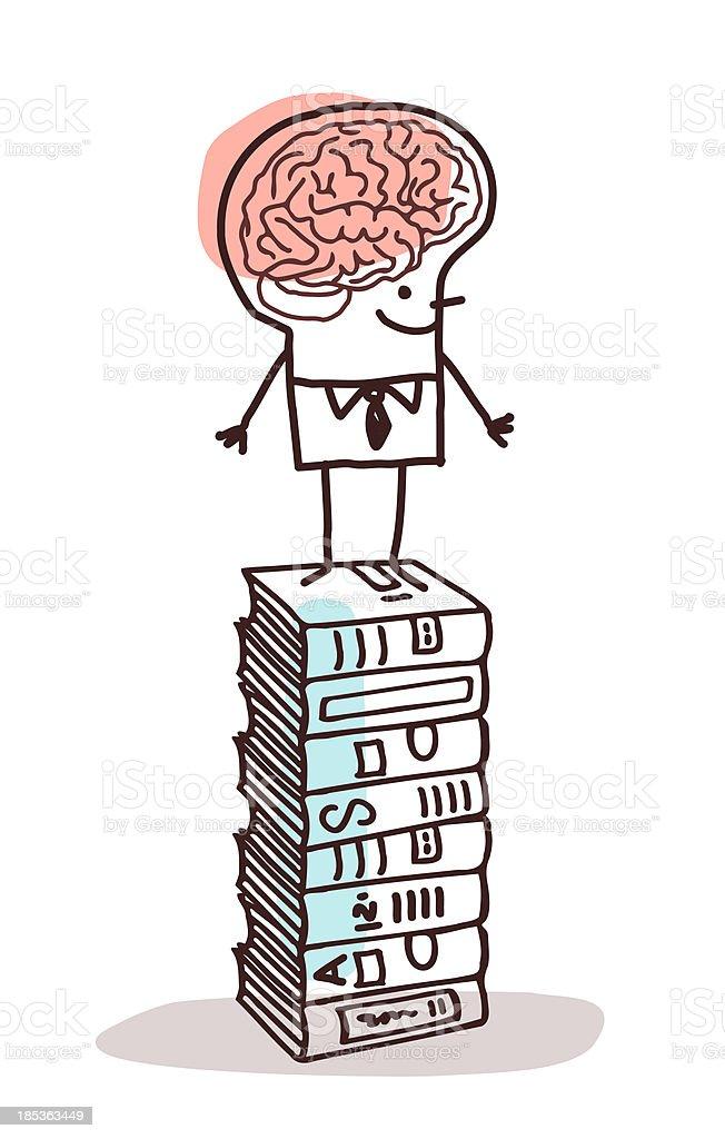 man , books & brain vector art illustration