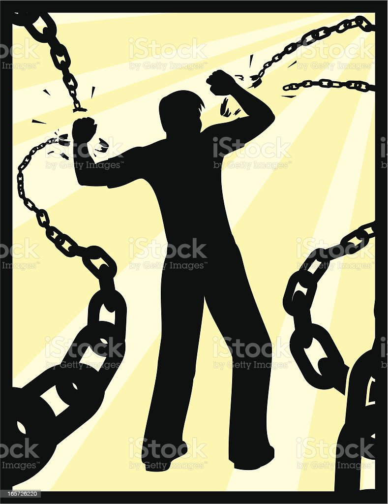 A man breaking free from his chains vector art illustration