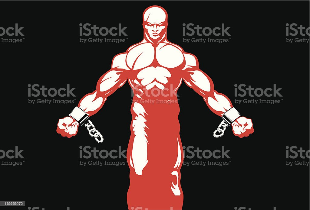 Man breaking the chain royalty-free stock vector art
