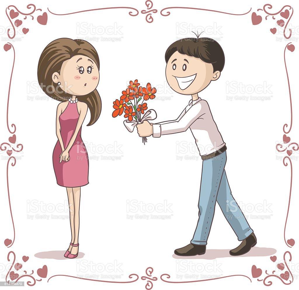Man Brings Flowers to Shy Woman Vector Cartoon vector art illustration