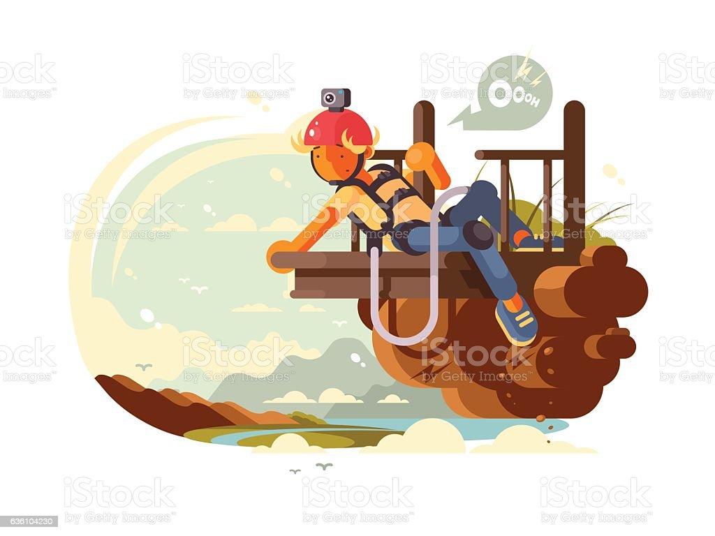 Man bungee jumping vector art illustration