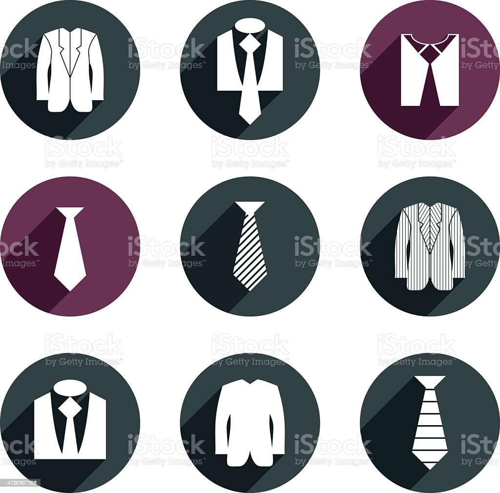 Man business clothes vector icons set. vector art illustration