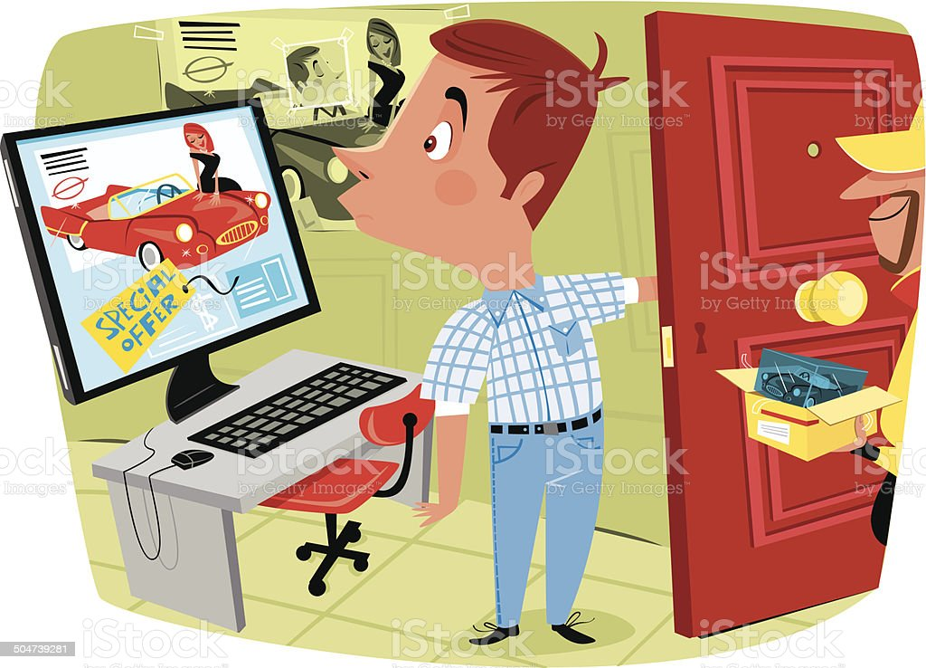 Man buying online and get something wrong vector art illustration