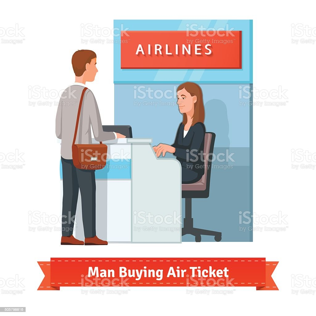 Man buying ticket for business trip at the airport vector art illustration