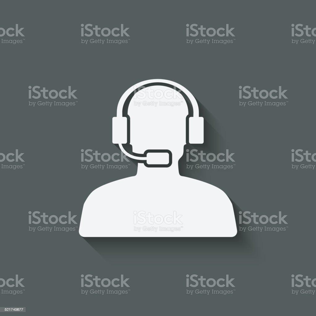 man call center support symbol vector art illustration