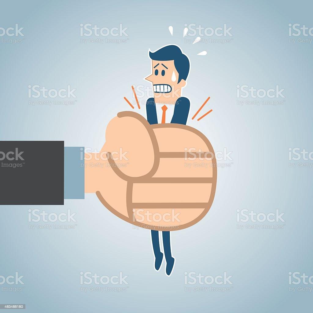 Man captured vector art illustration
