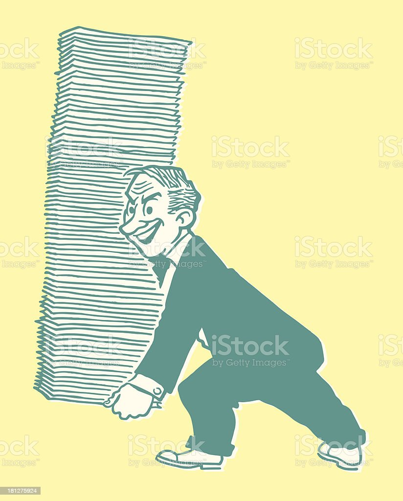 Man Carrying a Large Stack of Papers vector art illustration