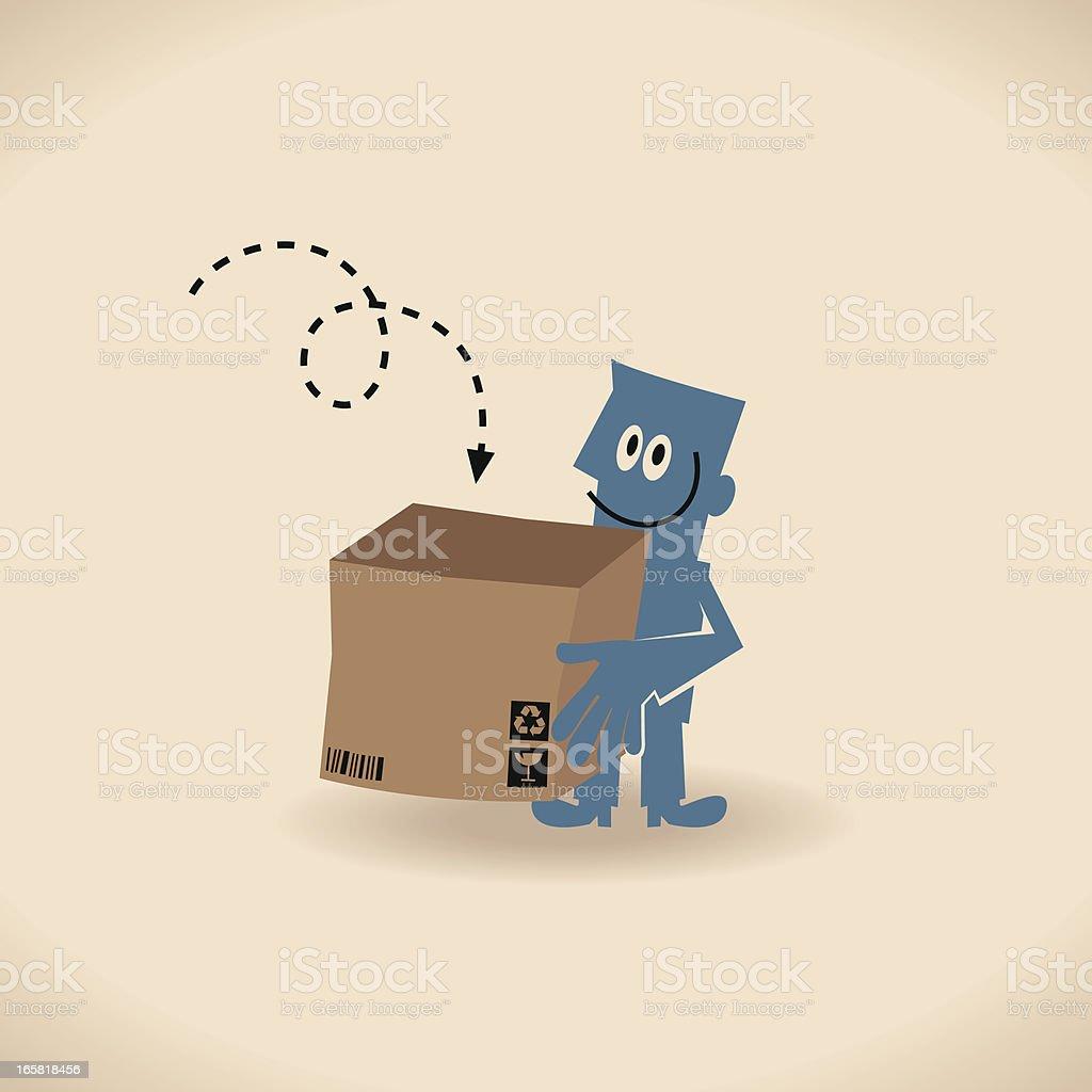 Man Carrying An Opened Carton Box vector art illustration