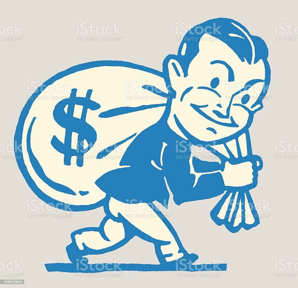 Man Carrying Bag of Money Over His Shoulder vector art illustration