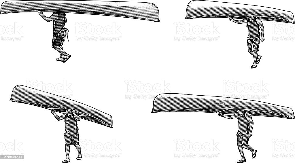 Man Carrying Canoe vector art illustration