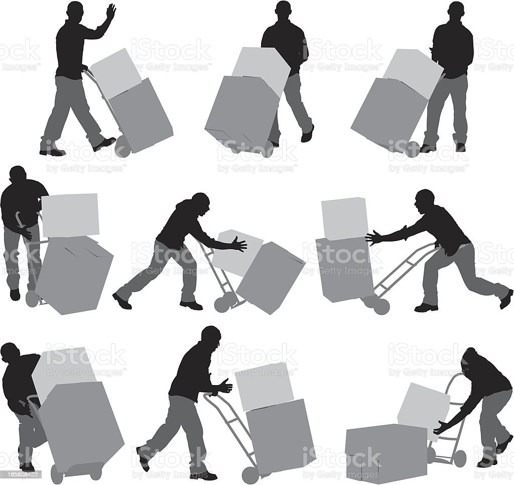 Man carrying cardboard boxes in a warehouse royalty-free stock vector art