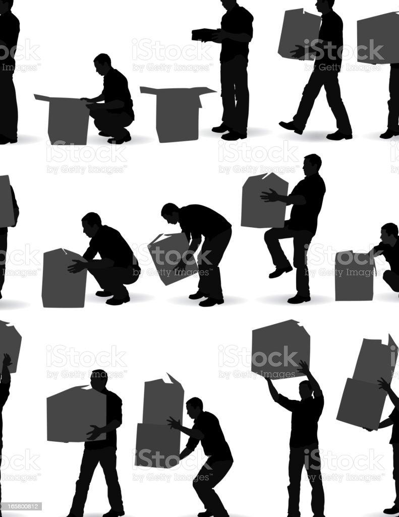 Man carrying cardboard boxes vector art illustration