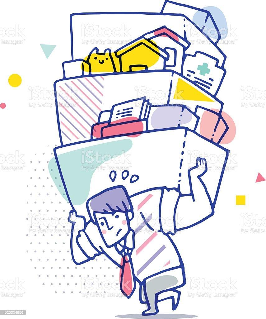 Man carrying heavy burden vector art illustration