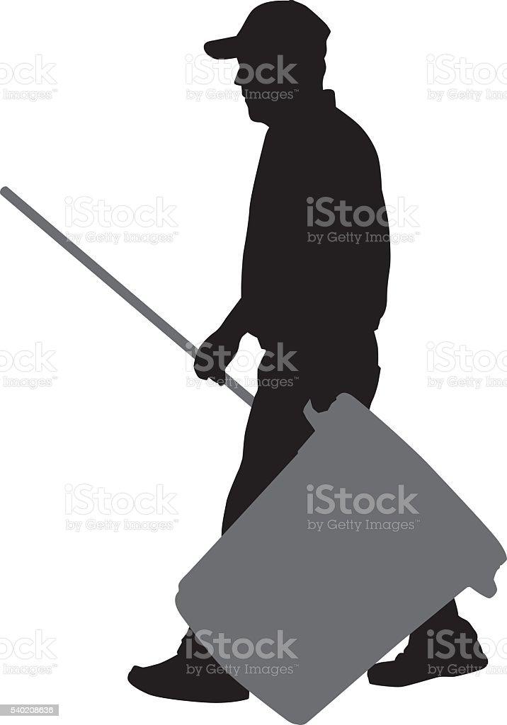 Man Carrying Trash Can vector art illustration