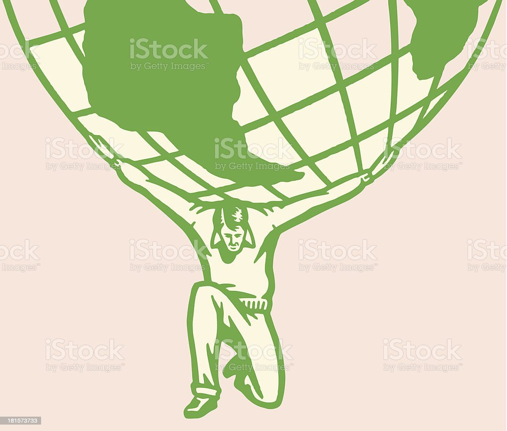 Man Carrying Weight of World on His Shoulders vector art illustration