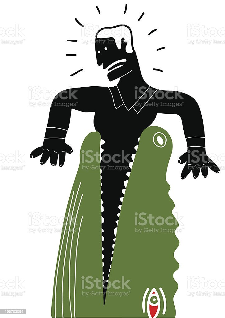 Man catched in the mouth of a crocodile royalty-free stock vector art