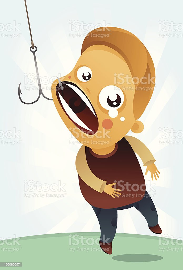 man catched with fishing hook royalty-free stock vector art