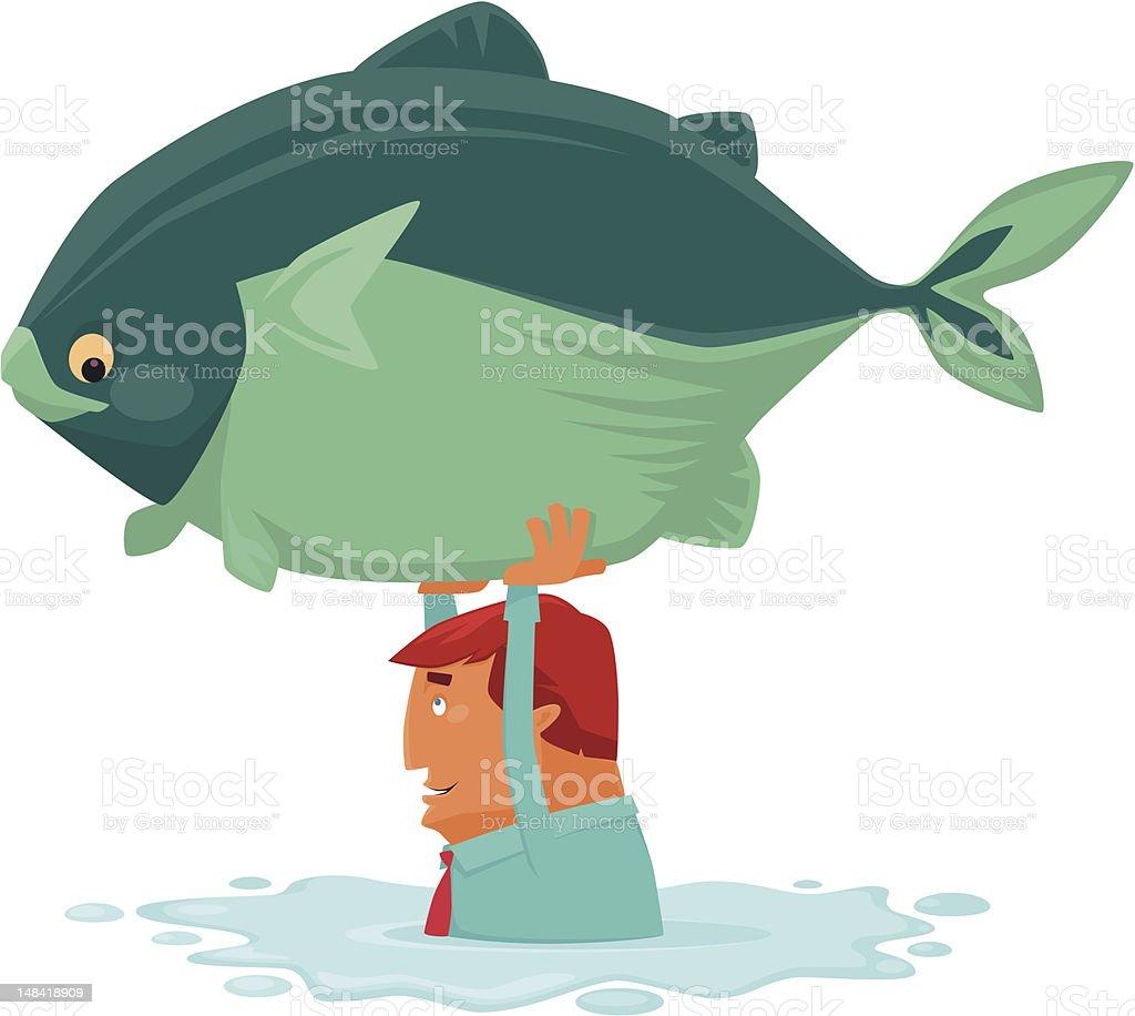 man catching big fish vector art illustration