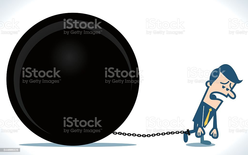 Man chained to a hue heavy ball vector art illustration